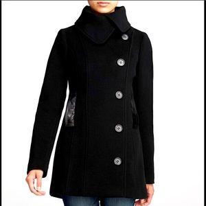 Mackage Effie Wool Cashmere Peacoat leather trim M